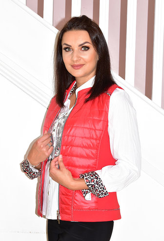 JUST WHITE Bodywarmer With Leopard Print Detail On Shoulder