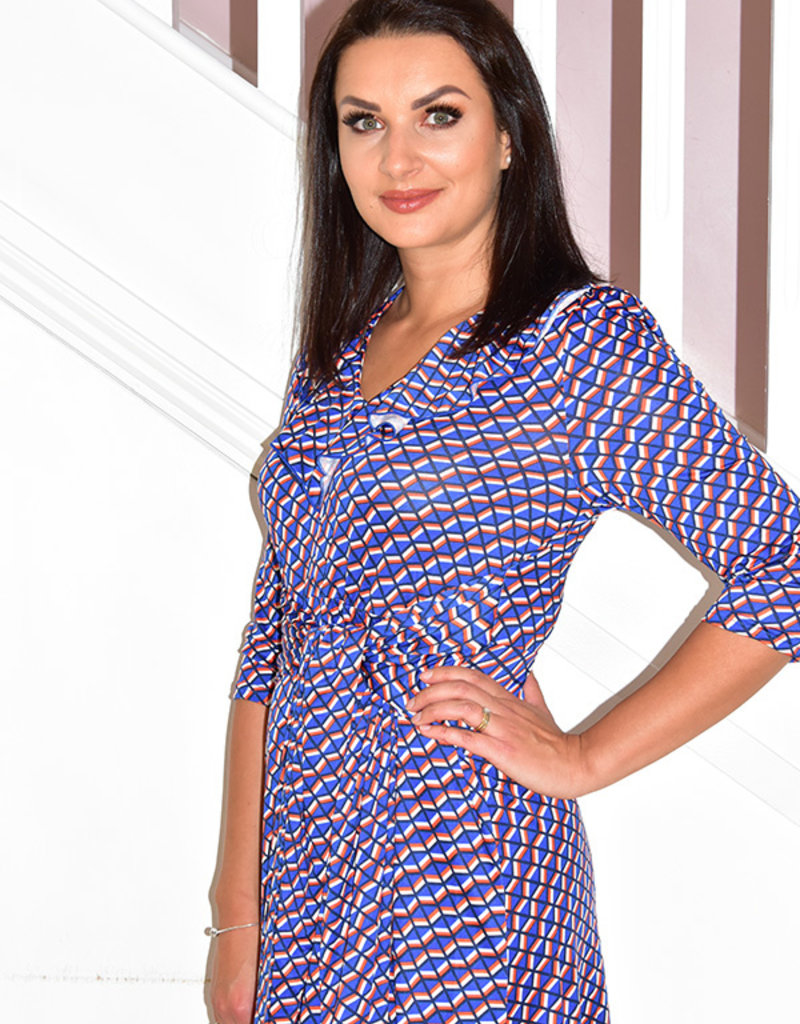 Jolie Moi Frilly V Neck Midi Dress