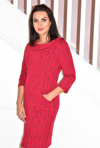 LIBRA Red Cowl Neck Lack Back Dress