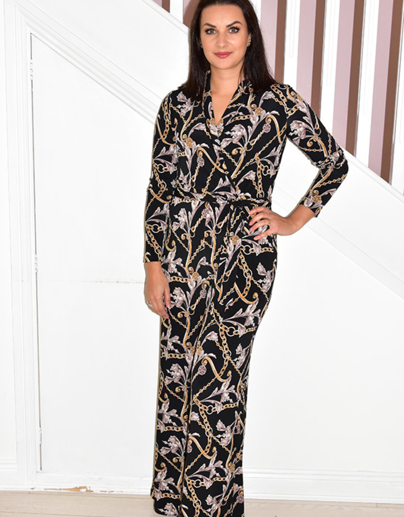 JOSEPH RIBKOFF Jumpsuit With Chain Detail and Tie