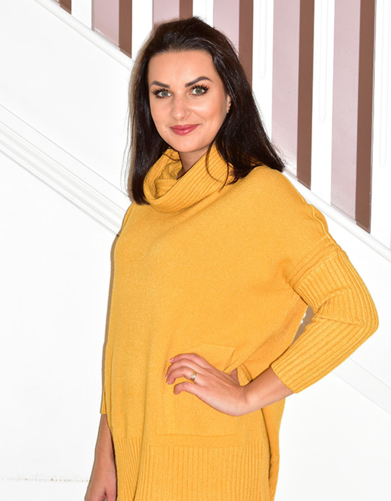 DECOLLAGE Decollage Cowl Neck Knit Pullover With Pockets