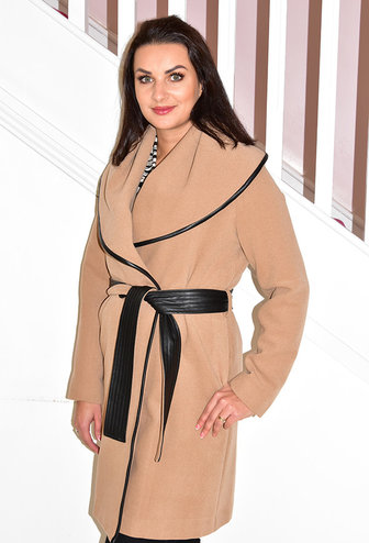 KATE COOPER Light Brown Long Coat With Tie Belt