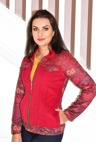 Kalisson Red Denim Style Jacket With Pattern Sleeves
