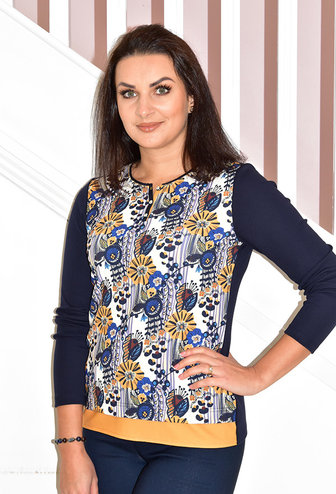 Kalisson Floral Print Long Sleeve Top With Buttons