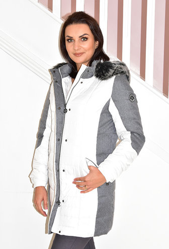 Normann White Outdoor Coat With Faux Fur Hood