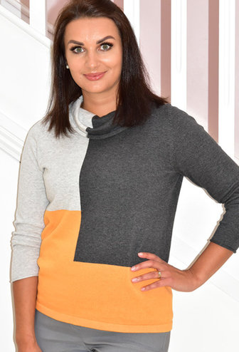 MARBLE Orange Block Print Sweater With Large Collar