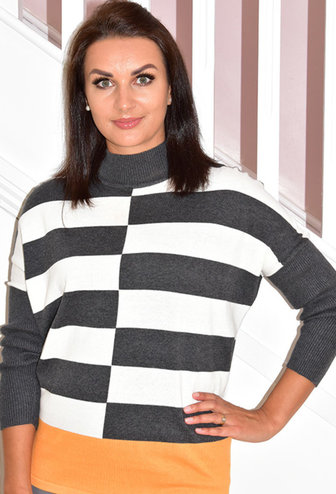 MARBLE Orange Striped Knit Pullover With Accent