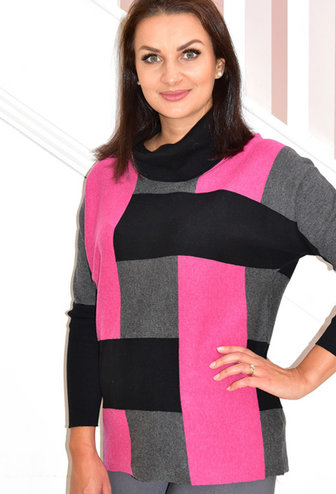 MARBLE Fuchsia Block Print Sweater With Batwing Sleeves