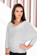 DECOLLAGE Grey Loose Knit Batwing Layering Top
