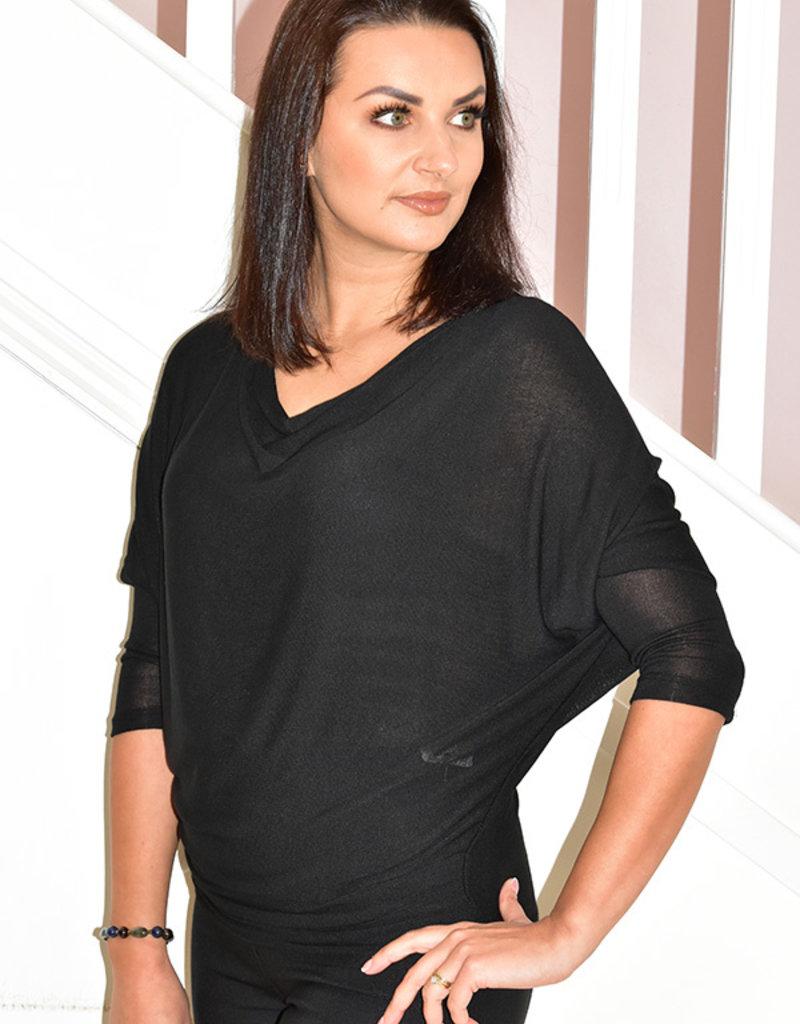 DECOLLAGE Black Loose Knit Layering Top