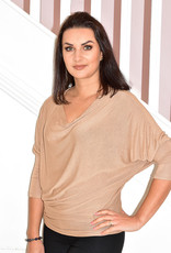 DECOLLAGE Light Brown Loose Knit Batwing Layering Top