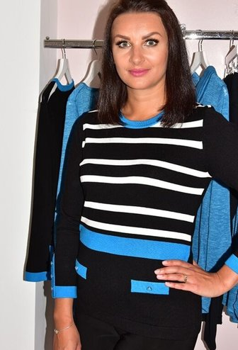 MARBLE Blue Striped Jumper With Pocket Effect