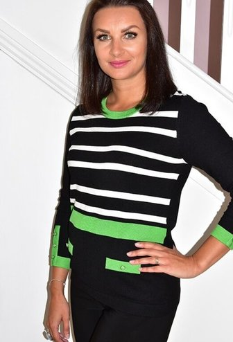 MARBLE Green Striped Jumper With Pocket Effect