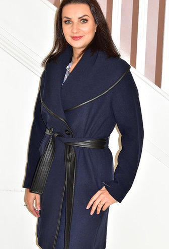 KATE COOPER Navy Long Coat With Tie Belt