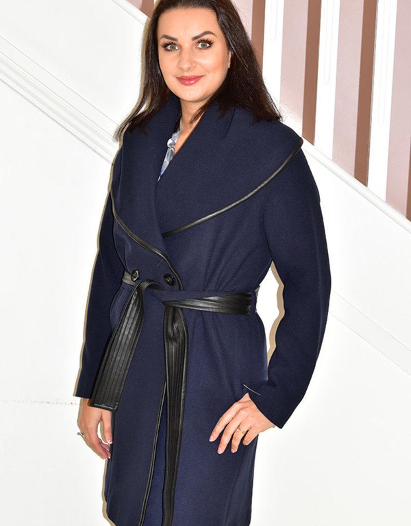 KATE COOPER Navy Long Coat With Tie Belt