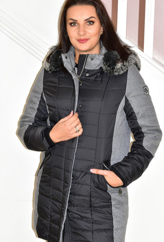 Normann Black Outdoor Coat With Faux Fur Hood
