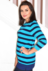 LIBRA Blue & Navy Stripe Knit Jumper