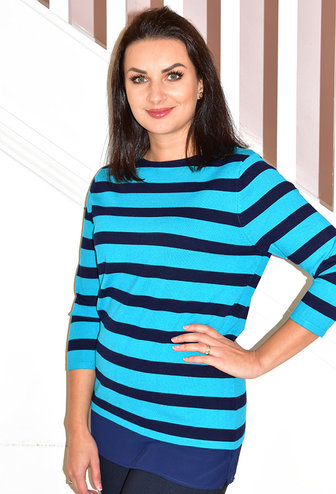 LIBRA Blue & Navy Stripe Knit Jumper