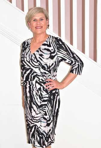 LIBRA V Neck Patterned Wrap Dress