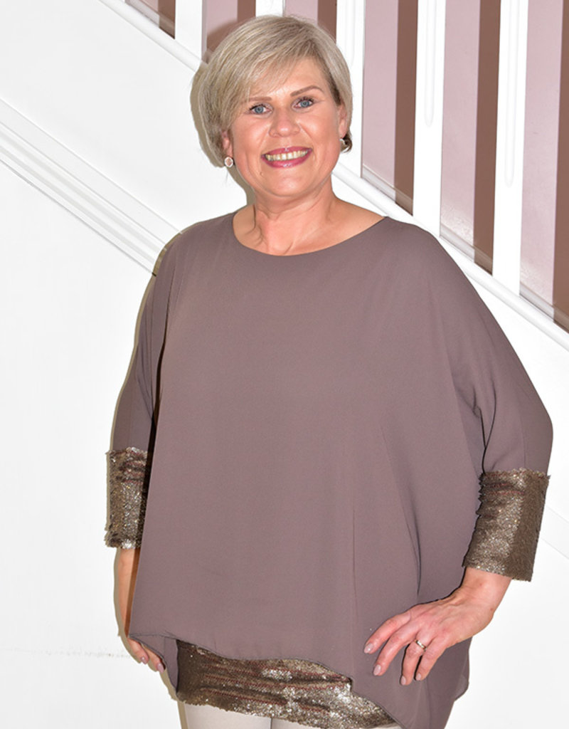 NOT IS NOT Layered Tunic With Sequin Trim