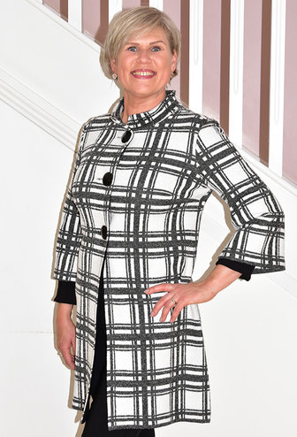 JOSEPH RIBKOFF Checked Pattern Coat With Buttons