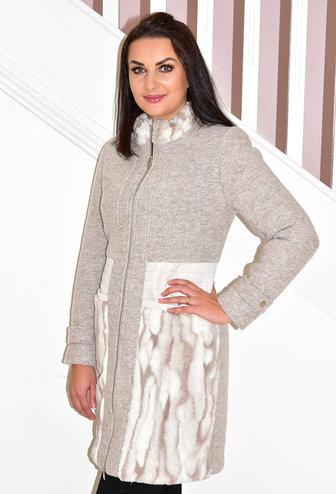 HONGO Zip Up Coat With Faux Fur Detail