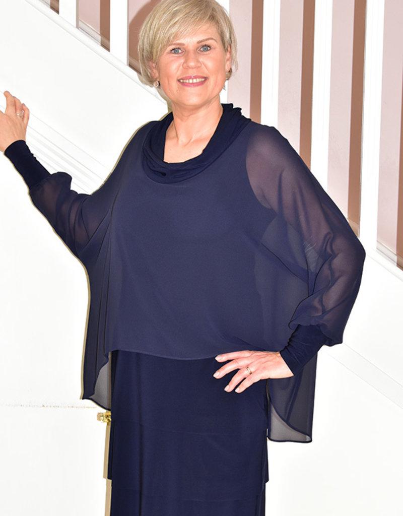JOSEPH RIBKOFF Dress Layered With Cowl Neck