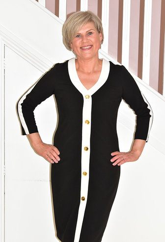 OLIMARA Dress With Middle Button Detail