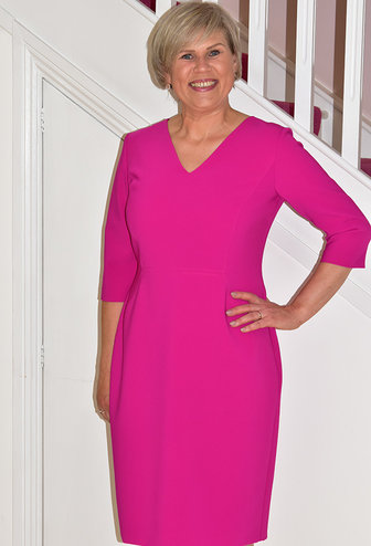 KATE COOPER Fuchsia Long Sleeve V-Neck Dress