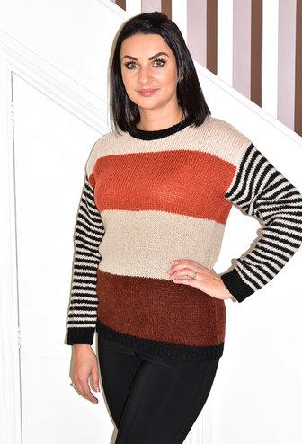 dranella Knit Wool Jumper With Stripe Sleeve