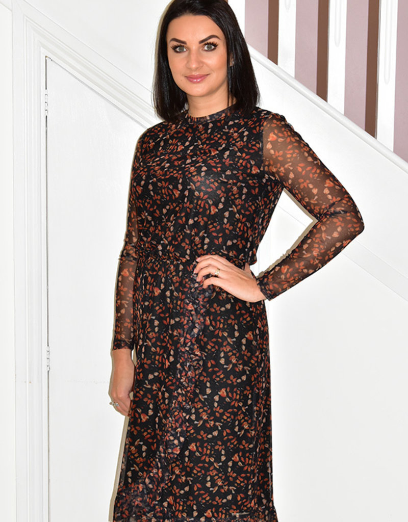 dranella Dress With Sheer Sleeve With Elastic Waist