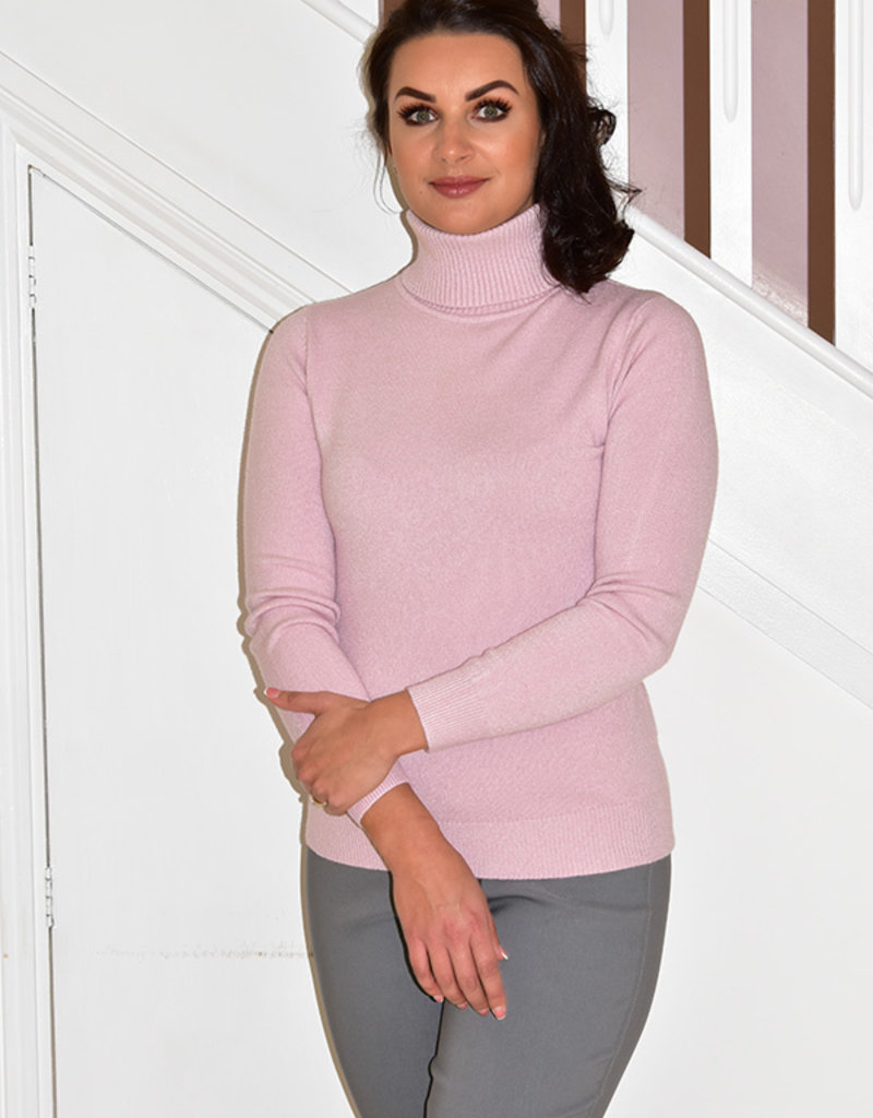 DECOLLAGE Pink Polo Neck Jumper