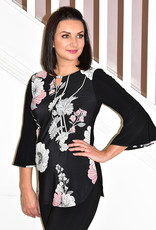 FRANK LYMAN Floral Print Top With Bell Sleeves