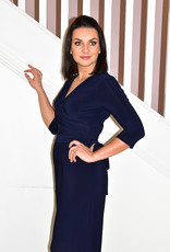 JOSEPH RIBKOFF Navy Ruched Detail Jumpsuit With Tie Detail