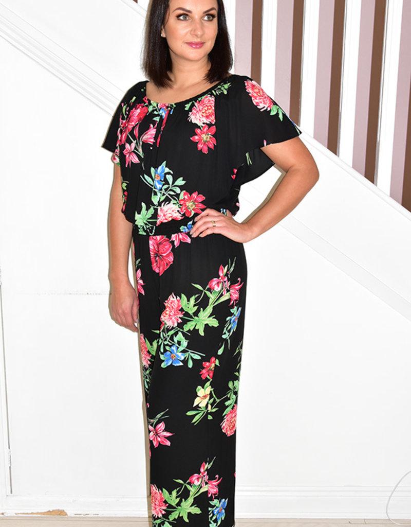 JOSEPH RIBKOFF Elasticated Waist Floral Print Jumpsuit