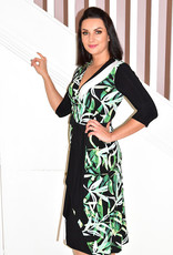 JOSEPH RIBKOFF Leaf Pattern Long Dress With Belt Tie