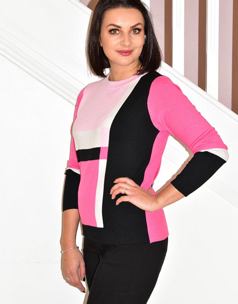 RABE Pink/Black/White Block Pattern Jumper