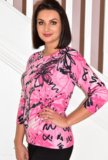 RABE Pink Floral Multi Print Top With Long Sleeves