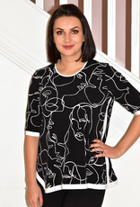 JOSEPH RIBKOFF High Low Black and White Top With 3/4 Sleeves