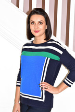 BETTY BARCLAY Navy Jumper With Multi Coloured Pattern