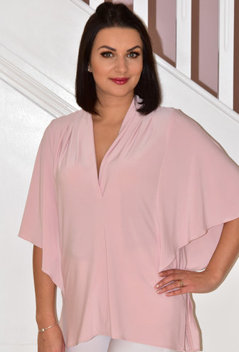 JOSEPH RIBKOFF V Neck Rose Colour Top