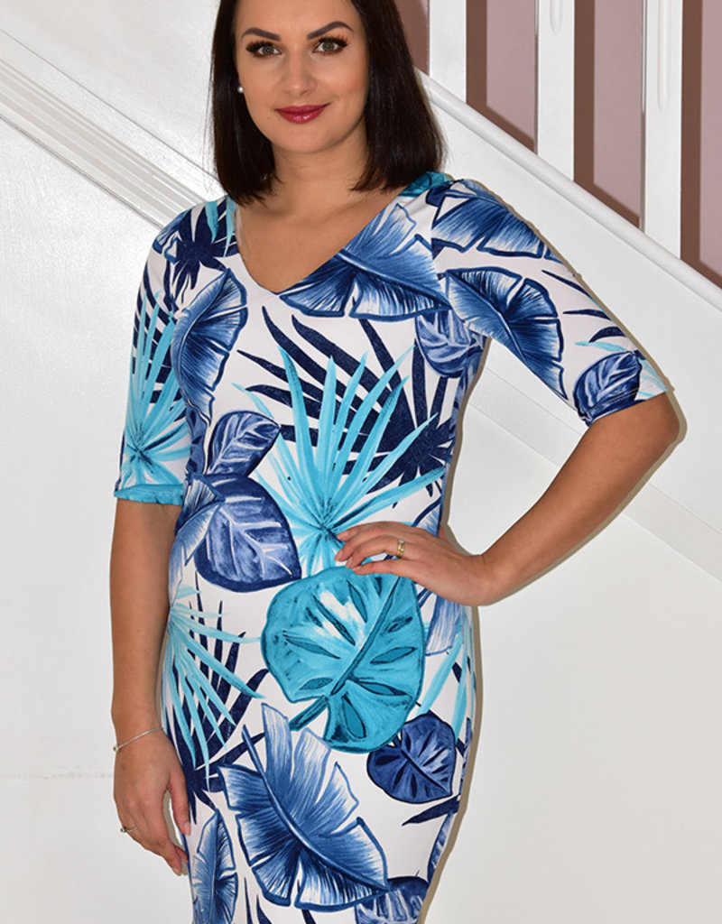 Michael Tyler Multi Colour Dress With 3/4 Sleeves