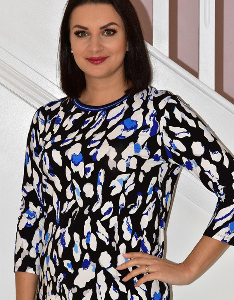 BETTY BARCLAY Multi Pattern Long Sleeve Leopard Print Top