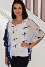 Michael Tyler Blue/White Top With Cape Detail