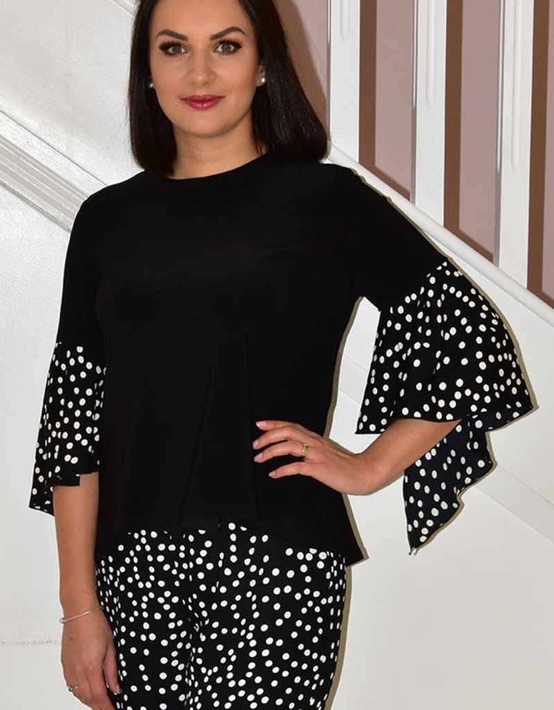 JOSEPH RIBKOFF Top With Polka Dot Bell Sleeve