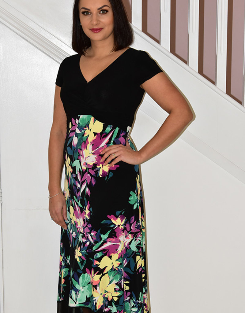 JOSEPH RIBKOFF Black Long Faux Wrap Dress With Floral Print