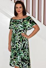 JOSEPH RIBKOFF Off Shoulder Leaf Pattern Maxi Dress