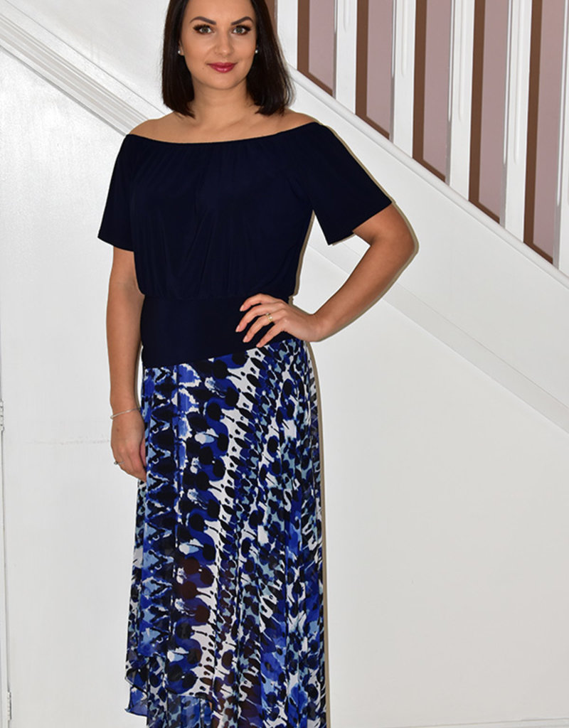 JOSEPH RIBKOFF High Low Blue/Black Dress With Elasticated Neck Line