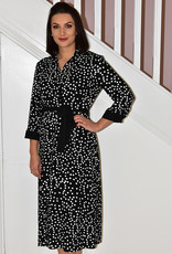 JOSEPH RIBKOFF Black/ Vanilla Polka Dot Button Dress With Tie