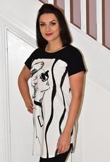 JOSEPH RIBKOFF Black & White Tunic Top With Face Design
